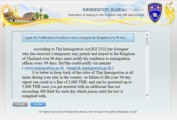 Expatriates in Thailand : 90 days report now possible via