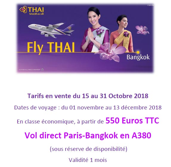 promotion avion thailande vol direct
