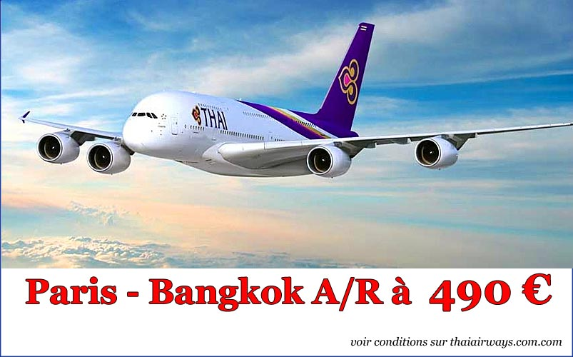 vols directs paris- bangkok à 490€ avec thai airways