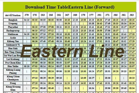 train thailand timetable east